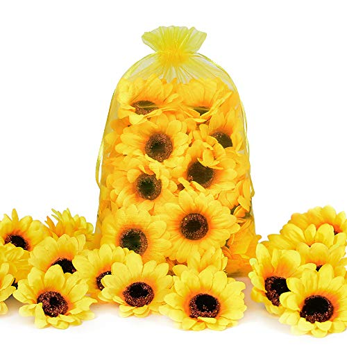 Wedding Cake Table Ideas (HUIANER 100PCS Artificial Sunflower Heads, 2.8