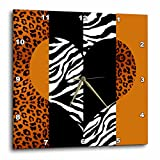 zebra print wall pics - 3dRose dpp_35443_1 Orange Black and White Animal Print Leopard and Zebra Heart Wall Clock, 10 by 10-Inch