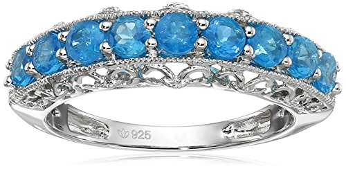 Sterling Silver Neon Apatite Band Stackable Ring, Size 7 ()