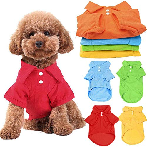 DOGGYZSTYLE 4 Pack Solid Dog Polo Tshirts Shirts Pet Puppy T-Shirt Clothes Outfit Apparel Coats Tops (L Chest 17.72…