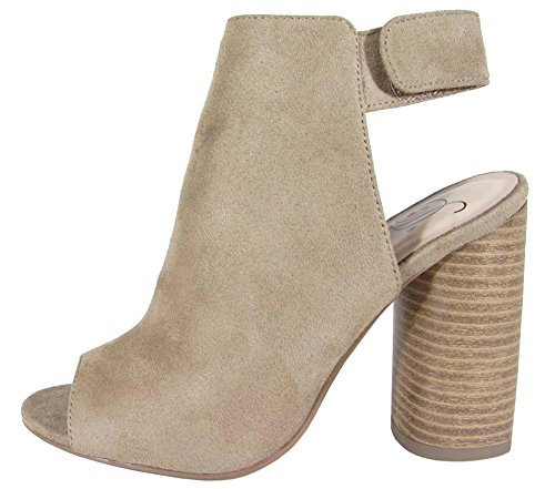 Delicious Women's Peep Toe Velcro Sling Back Round Stacked Heel Ankle Bootie (7.5 B(M) US, Taupe - Sling Toe Round