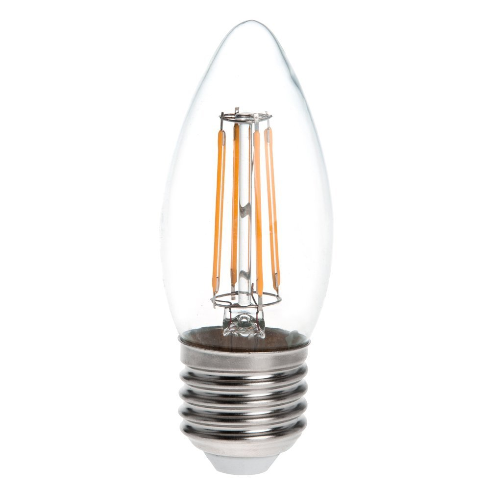 40W Equivalent Warm White 2700K HERO-LED  B11-DS-4W-WW27 Dimmable B11 E26//E27 4W Edison Style LED Filament Chandelier Candle Light Bulb LED Torpedo 4-Pack
