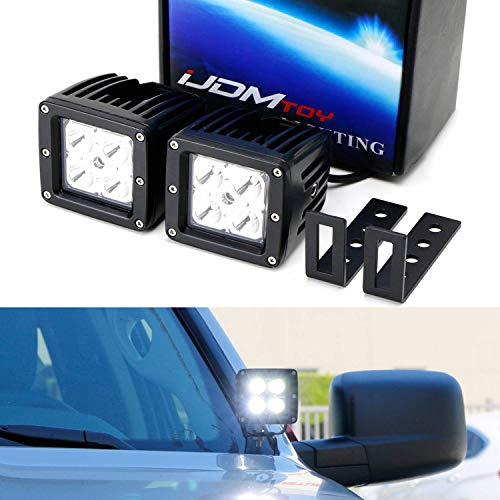 iJDMTOY A-Pillar LED Pod Light Kit For 2007-14 Chevy Silverado & GMC Sierra, Includes (2) 20W High Power CREE LED Cubes, Windshield A-Pillar Mounting Brackets & On/Off Switch Wiring Kit