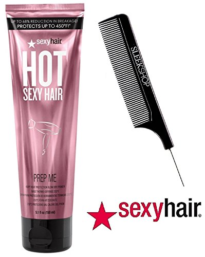 HOT Sexy Hair PREP ME 450°F Heat Protection Blow Dry Primer, Up to 68% Reduction in Breakage, Protects Up to 450 Degrees F. (With Sleel Steel Pin Tail Comb) (5.1 oz/150 ml)