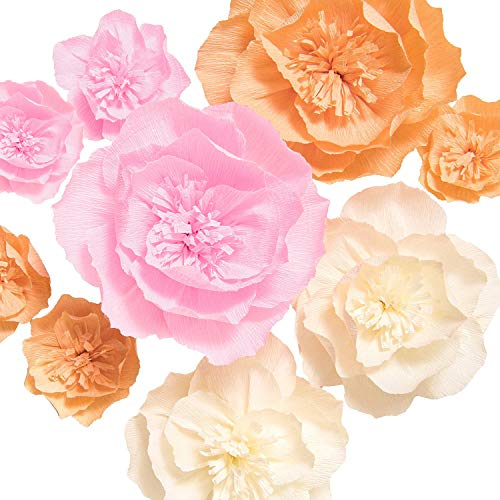 Ling's moment Paper Flower Decorations, 9 X Large Crepe Paper Peony Flowers, Handcrafted Paper Flowers for Wall Party Wedding Backdrop Baby Shower Nursery Centerpieces]()