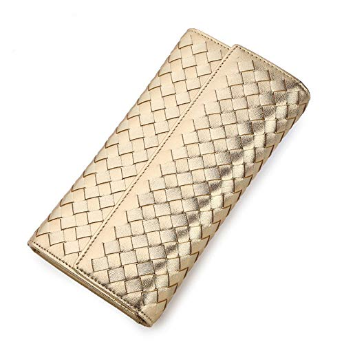 Womens Card Case Wallet Women's Leather Wallet Long Leather Zipper Wallet Leather Woven Clutch for Any Dance (Color : Metallic)