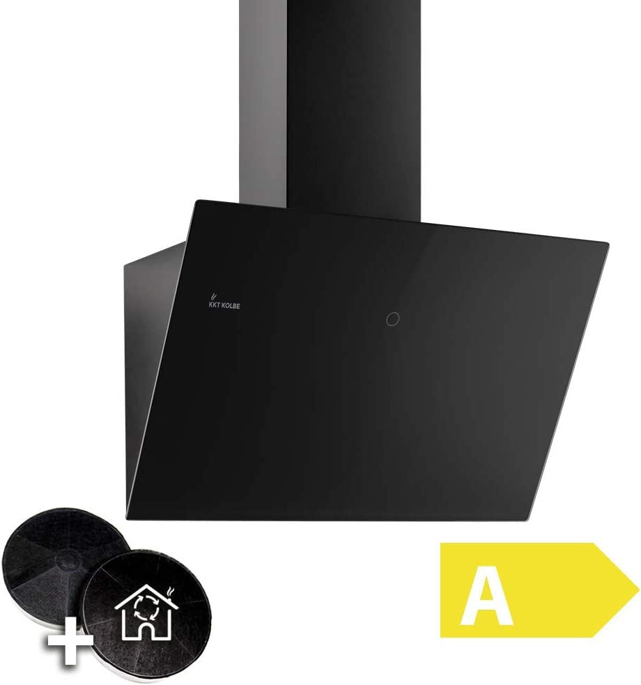 Campana extractora de pared (60cm, acero inoxidable, cristal negro, 612m³/h, 3 escalones, iluminación LED, teclas de sensor TouchSelect) TRIO6014S - KKT KOLBE