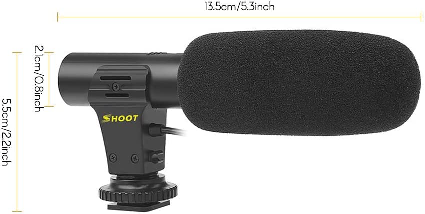 Andoer Shoot XT-451 Portable Condenser Stereo Microphone Mic with 3.5mm Jack Hot Shoe Mount for Canon Sony Nikon Camera Camcorder DV Smartphone for Video Studio Recording Interview Webcast