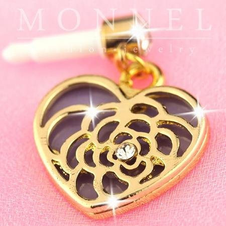 Ip584 Cute Purple Heart Rose Pattern Charm Anti-dust Dock Earphone Plug Stopper for Smart Phone iPhone /& Android