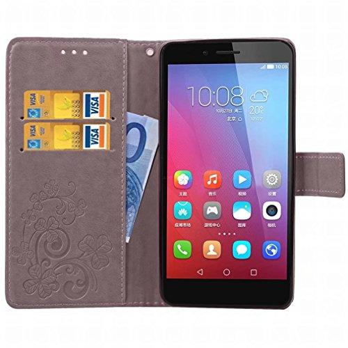 Yiizy Huawei Honor 5X / Honor X5 / GR5 Custodia Cover, Tre Foglia Erba Design Sottile Flip Portafoglio PU Pelle Cuoio Copertura Shell Case Slot Schede Cavalletto Stile Libro Bumper Protettivo Borsa (G