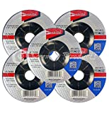 "Makita 5 Pack - 4 1 2 Grinding Wheel For Grinders - Aggressive Grinding For Metal - 4-1/2"" x 1/4 x 7/8-Inch 