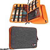 Travel Organizer, BUBM Universal Double Layer Travel Gear Organizer Storage Bag / Electronics Accessories Organizer / USB Cable Organizer Bag – Grey and Orange