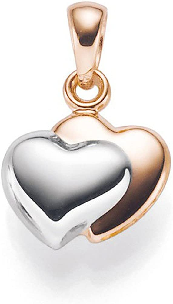 Halskette Damen Doppelherz 2 Herzen Zirkonia Strass Kristall Weißgold Plattiert