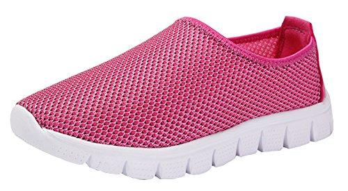 VECJUNIA Jungen Mädchen Slip on Wasserschuhe Casual Outdoor Laufschuhe Mesh Sneaker Geschlossene Zehe Sandalen Pink