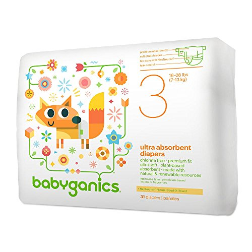 Babyganics Ultra Absorbent Disposable Diapers Size 3- 31 Count Pack of 2
