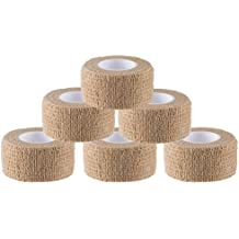 """N.C Products self adhesive Wrap Bandages 1"""" X 5 Yards 6 Count,Strong Elastic Tape"""