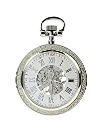 Itemstoday Retro Open Face Silver Men's Mechanical Pocket Watch Pendant with Chain
