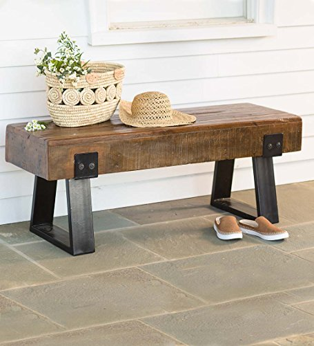 Richland Collection - Reclaimed Wood Bench Seat - Powder Coated Steel Legs - Rustic Distressed Antique Style - Indoor or Outdoor Use - 48 L x 16 W x 18 H