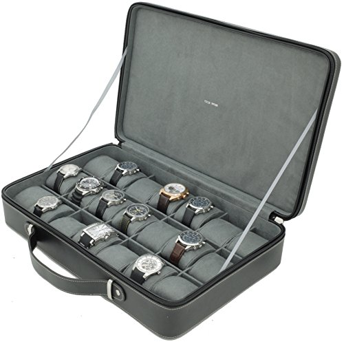 Executive Watch Case for 21 Travel Briefcase Black Leather Large Compartments Zipper Tech Executive Watch