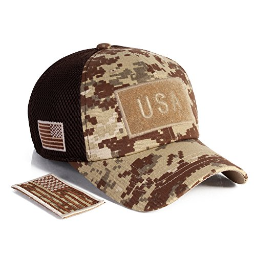 All Star Cotton Cap (Tactical Constructed Operater Baseball Cap + Free detachable USA Flag Patch (Camo02))