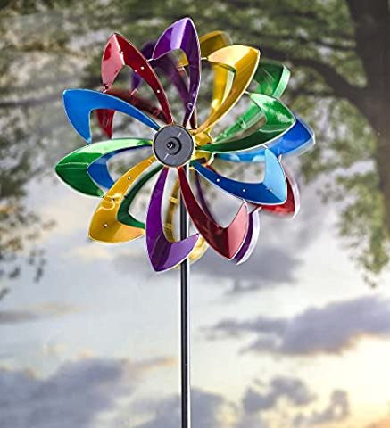 Solar LED Metal Flower Garden Wind Spinner 24.5 dia. x 11.5 D x 75 H Bright Colors - Kinetic Metal Sculpture