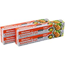 Wohler Durable Kitchen Aluminum Foil Roll, 100 Sq Ft (Pack of 4)