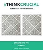 2 Replacements for 21x23x1 MERV 11 Allergen Air Furnace & Air Conditioner Filter, Pleated, by Think Crucial