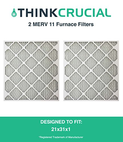 2 High Quality 21x23x1 MERV 11 Allergen Air Furnace & Air Conditioner Filter, Pleated, Premium Filtration, by Think Crucial