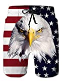 Big and Tall Swimming Short for Men Chubby American Flag Eagle Swim Trunks Summer Beach Shorts with Pockets XL