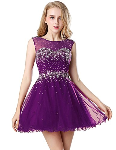 Belle House Girls Sheer Neck Homecoming Dresses 2018 for Juniors Short Prom Ball Gown Cockatail Graduation Party Dresses with Beading A Line