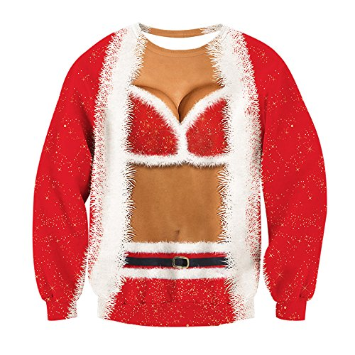 Womens Christmas Ugly Sweater Santa Claus Sexy Bra Print Pullover Long Sleeve Sweatshirts T-shirt for Teen Juniors Red Christmas Ugly Sweaters