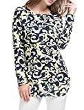 Allegra K Women's Novelty Prints Long Sleeves Ruched Sides Knitted Top XL Beige