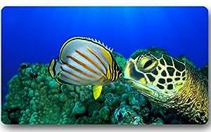 Mar Tortuga Felpudo antideslizante se puede lavar a máquina. Felpudo de decoración para el hogar 23,6x 15,7pulgadas.