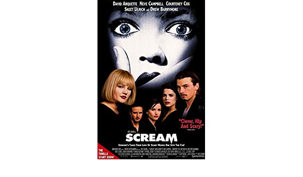 Amazon.com: Scream Movie POSTER 27 x 40 Drew Barrymore, Neve Campbell, A, MADE IN THE U.S.A.: Kitchen & Dining