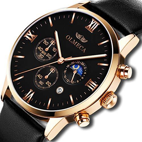 OLMECA Men's Watches Luxury Quartz Wristwatches Sapphire Lens Dial Waterproof Calendar Date Black Color -