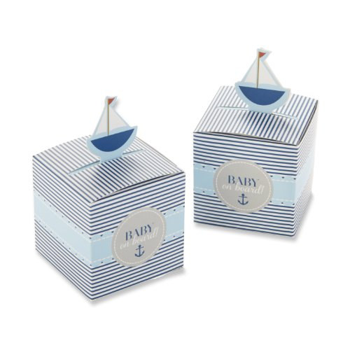 Kate Aspen Baby On Board! Pop-Up Sailboat Favor Box (Set of (Nautical Baby Shower Favors)