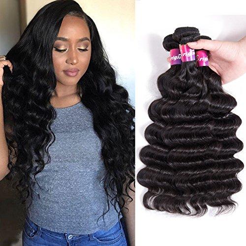 Brazilian Loose Deep Wave Bundles Virgin Hair 9A Curly Hair 3 Bundles 100% Unprocessed Human Hair Remy Hair Extensions Natural Black Color 100g/pcs by Originea (8