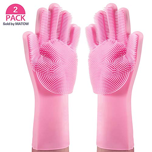 MATOW Magic Saksak Silicone Gloves Dishwashing Scrubber, Reusable Dish Wash Rubber Scrubbing Sponge Cleaning Gloves for Washing Kitchen, Bathroom, Car and Pet-(1 Pair: Left and Right, Pink)
