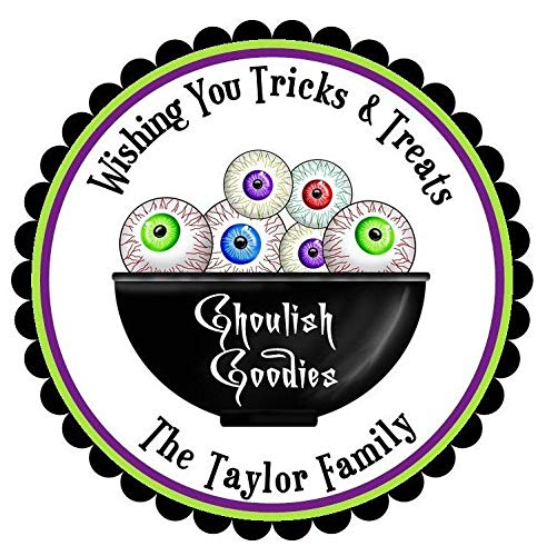Halloween Stickers Ghoulish Eyeballseyeball Trick Or Treat Labels Spooky Scary Trick Or Treat Children -
