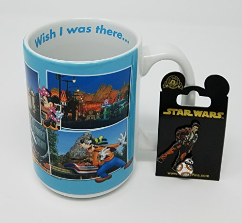 "Disneyland ""Wish I Was There"" Attractions 12 oz Ceramic Mug with Star Wars Pin"
