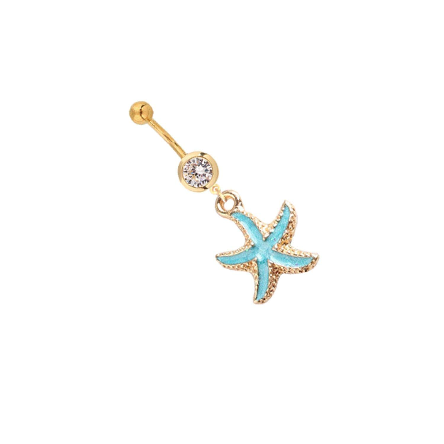 ihuoshang Summer Gold Shell Belly Ring Bohemian Belly Button Rings Starfish Navel Ring Navel Piercing Jewelry Girlfriend Gift