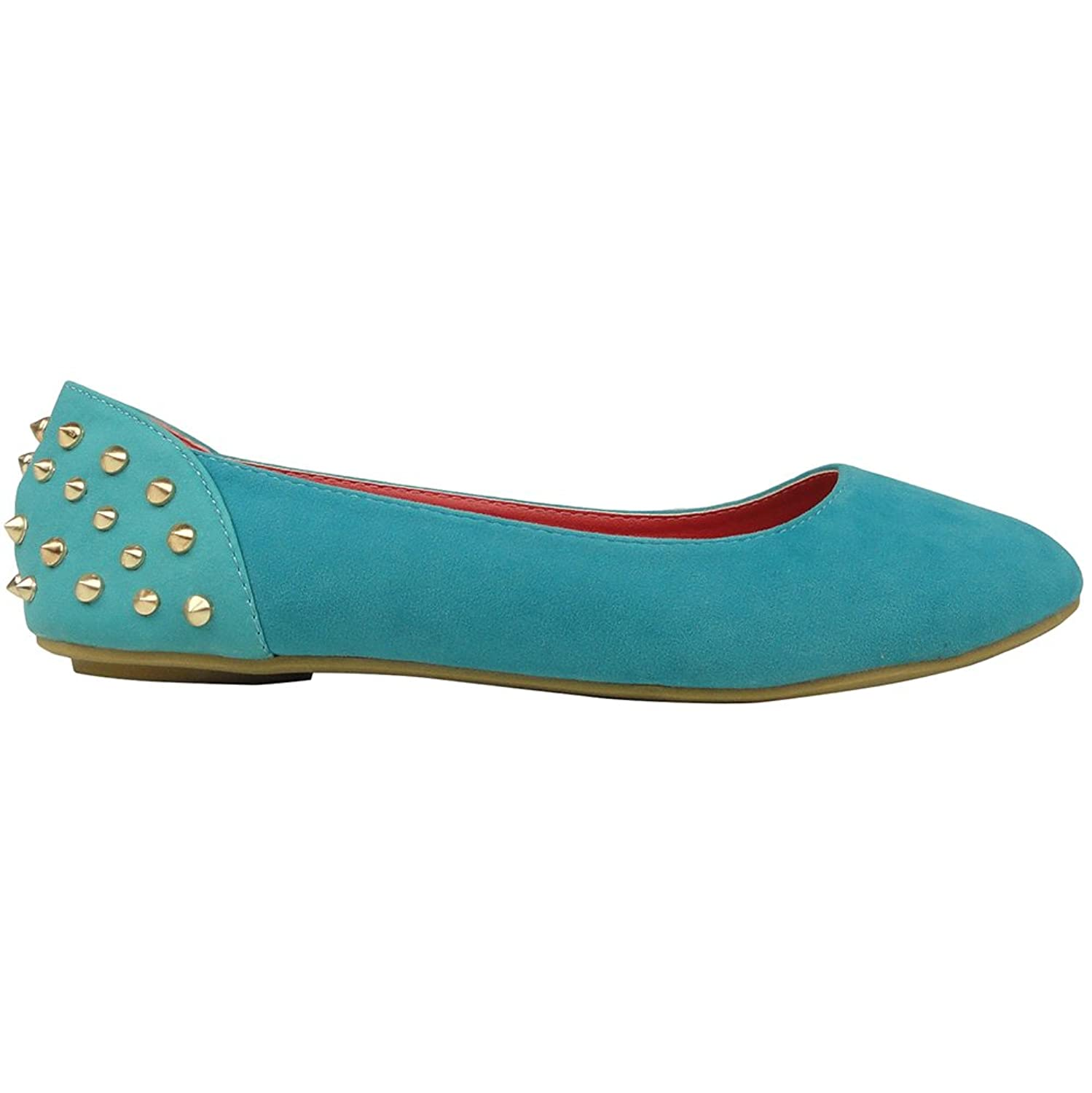 Amazon.com | Womens Slip On Round Toe Flat Comfort Shoes With Spiked Back  Teal Size 5.5-10 | Flats