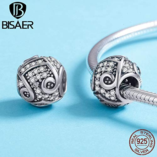 (Calvas Brand New Authentic 100% 925 Sterling Silver Music Note, Melody Round Beads Fit Charms Bracelet & Bangle Silver Jewelry)