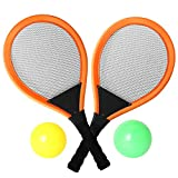 Pack of 2 22'' Badminton Tennis Rackets Kit with 2 Balls Junior Sports Elastic Mesh Badminton Racquets Set for Kids Outdoors Play Game Toy