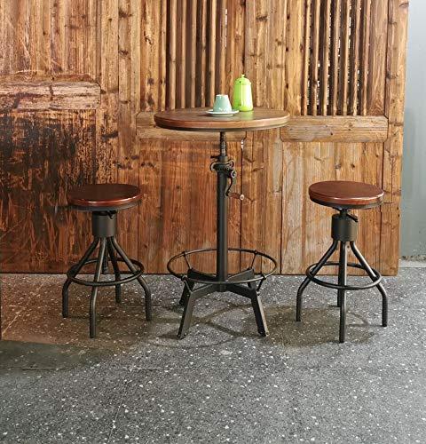 Farmhouse Barstools Adjustable Round Wood Metal Pipe Stool-Vintage Industrial Swivel Bar Stool-Cast Iron Farmhouse Pub Height Stool-23.4… farmhouse barstools