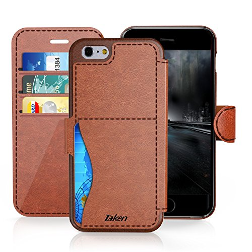 iPhone 6/6S Plus Leather Wallet Case with Cards Slot and Metal Magnetic, Slim Fit and Heavy Duty, TAKEN Plastic Flip Case / Cover with Rubber Edge, for Women, Men, Boys, Girls, 5.5 Inch (Dark Brown) - Exclusive Leather Products Ladies Handbags
