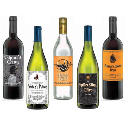 [Wine Bottle Labels (5 count)] (Wine Bottle Costumes Halloween)