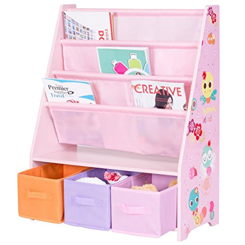 Costzon Kids Sling Bookshelf, Book Display Rack Storage Organizer with 3 Toy Storage Bins (Girls Furniture Shelf)