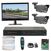 GW Security Inc. 2CHH2 HD-SDI 4-Channel DVR with 2 x 1/3 Inches 2.1 Megapixel CMOS Camera HD-SDI Video Output Level VariFocal 12mm Security Camera CCTV System (Black)