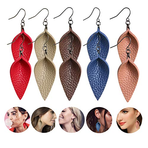 Coolcos 5Pairs Leaf Leather Earrings for Women - Lightweight Dangle Petal Leaf Teardrop Leather Earrings, Red/Navy Blue/Beige Tan/Coffee Brown/Light Pink 5 ()